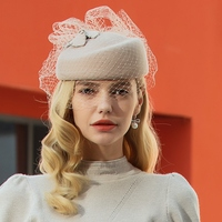 Hats for Women Winter Embroidered Veil cotton Felt Pillbox Hats for Formal Cocktail Party Wedding Hats Dress Fedoras
