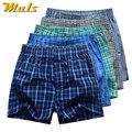 5Pcs/Lot Mens Underwear Boxers Shorts 100% Cotton Casual Underwear Sexy Soft Plaid Boxer Male Panties Comfortable Breathable
