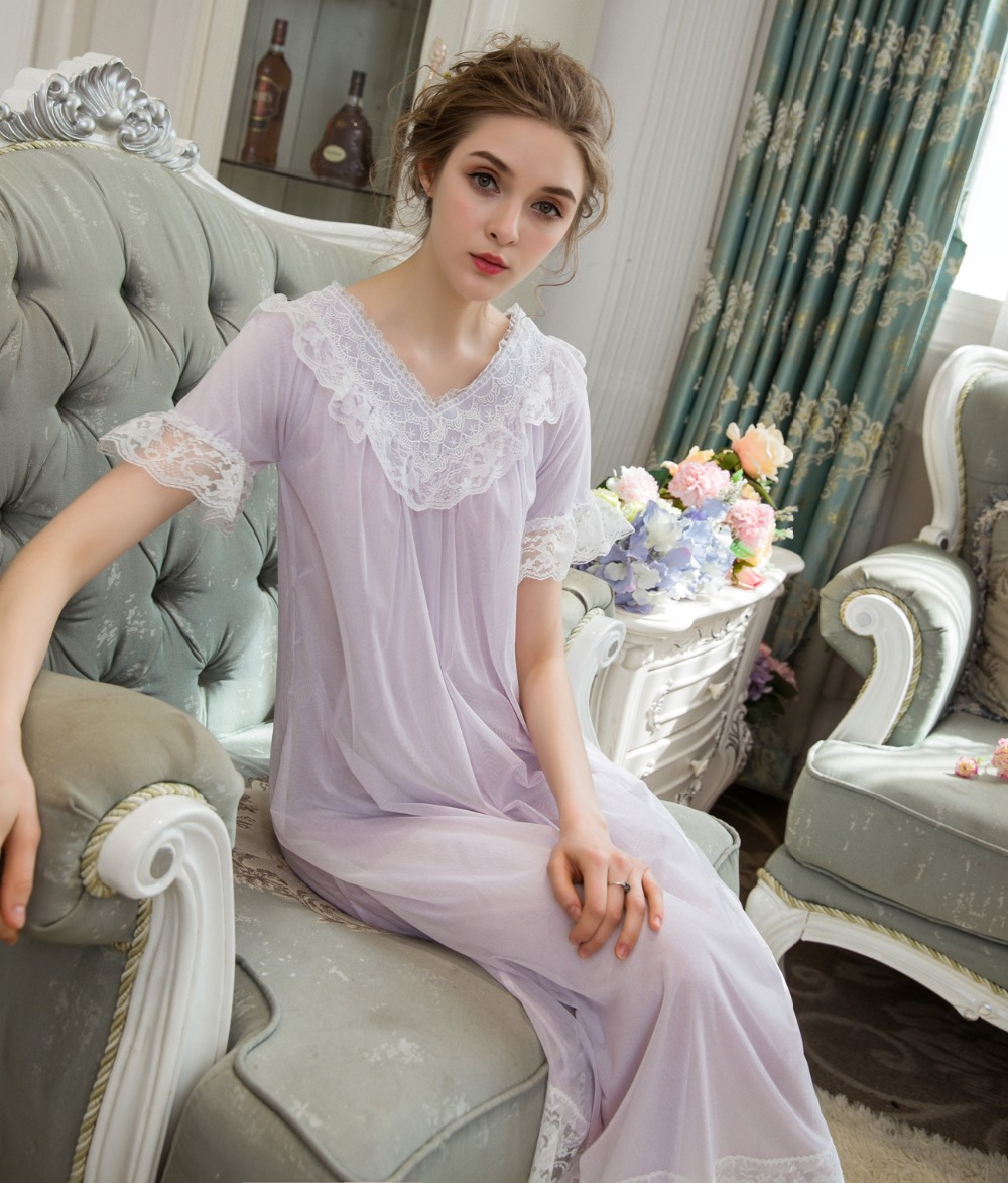 Women Short Sleeve Nightdress Palace Princess Sleepwear Female   Nightgowns     Sleepshirts   Bridesmaid Wedding Beach Dress