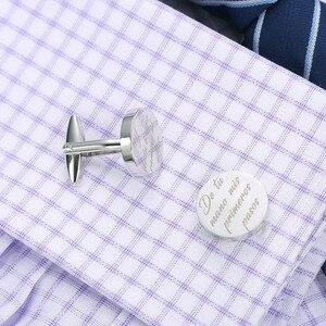 Image 4 - Gemelos de boda personalizados, redondos de plata, regalos de boda para novio, logotipo letras grabadas, palabras, joyas Gemelos