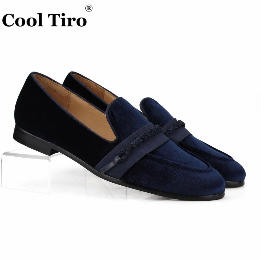 Cool Tiro Men Loafers Black Velvet Slippers With Braiding Flat Slip on Moccasins Men s Dress