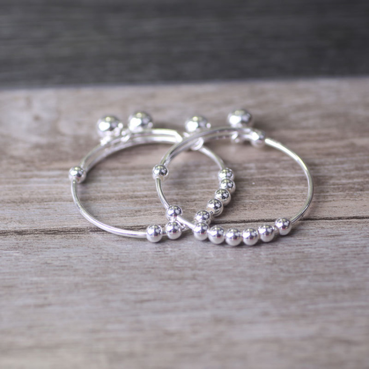 S990 sterling silver Small bell Baby adjustable Bracelet &Bangle ...