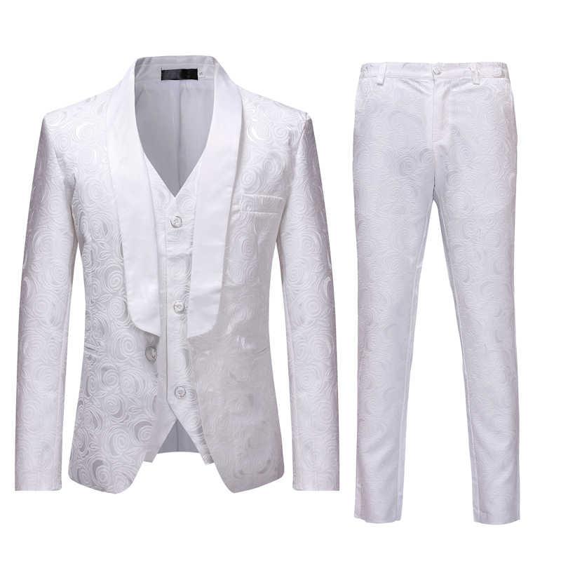 ヒップスターローズ花スーツのジャケットの男性 2018 ファッションスリムフィットワンボタンシングルブレストブレザー白マリアージュタキシードステージ衣装