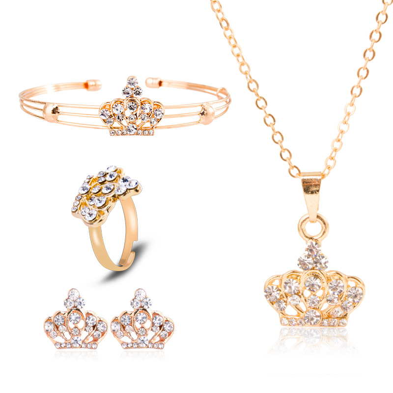 2018 SOBUY women lol European and American style exquisite four-piece crown jewelry befree gift