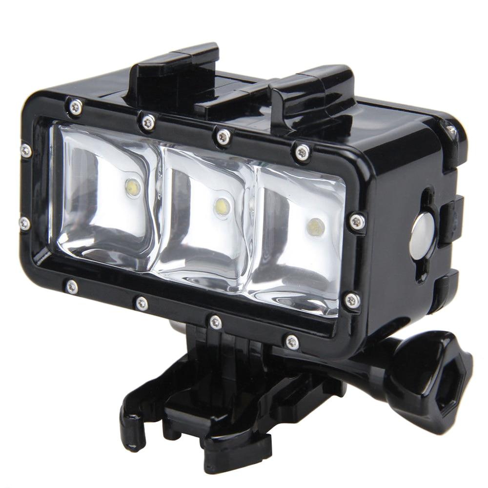 2 Packs 30M Waterproof LED Driving lamp video light for GoPro Hero 4 3+ 3 Sports Camera Black three dimensional adjustable helmet side mount for gopro hero 3 3 2 1 black