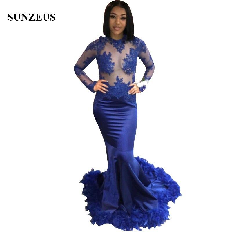 Robes De Bal Sirène Bleu Royal Longue robe De fête Appliques Illusion Corsage À Manches Longues robe De bal Avec Des Plumes