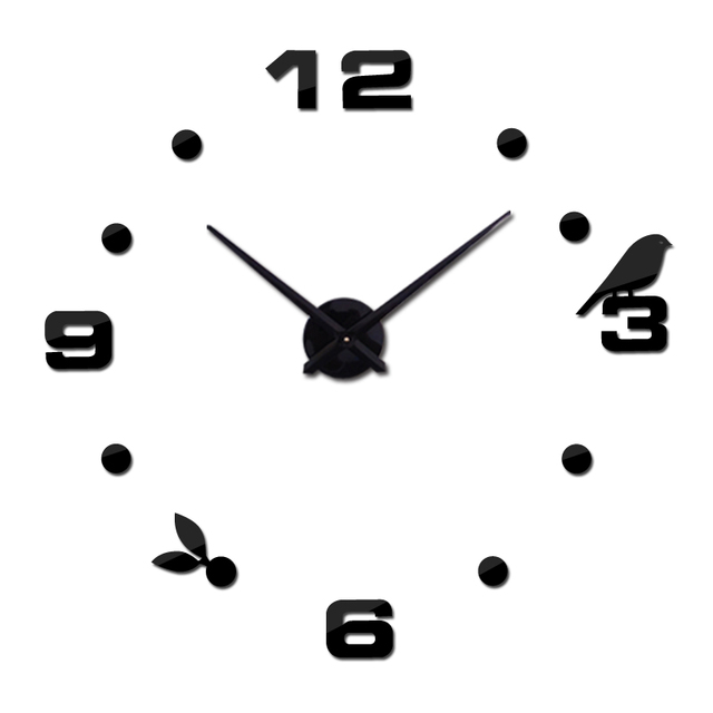 top fashion 3d wall clock still life quartz watch modern home decoration clocks living room diy acrylic mirror stickers