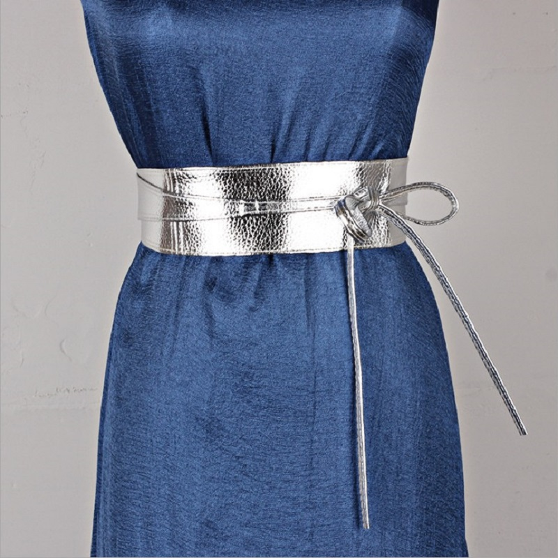 New Gold Silver Pu Leather Designer Wide Corset Strap Belts For Women Girls High Waistbands Slimming Girdle Ties Bow Cummerbunds