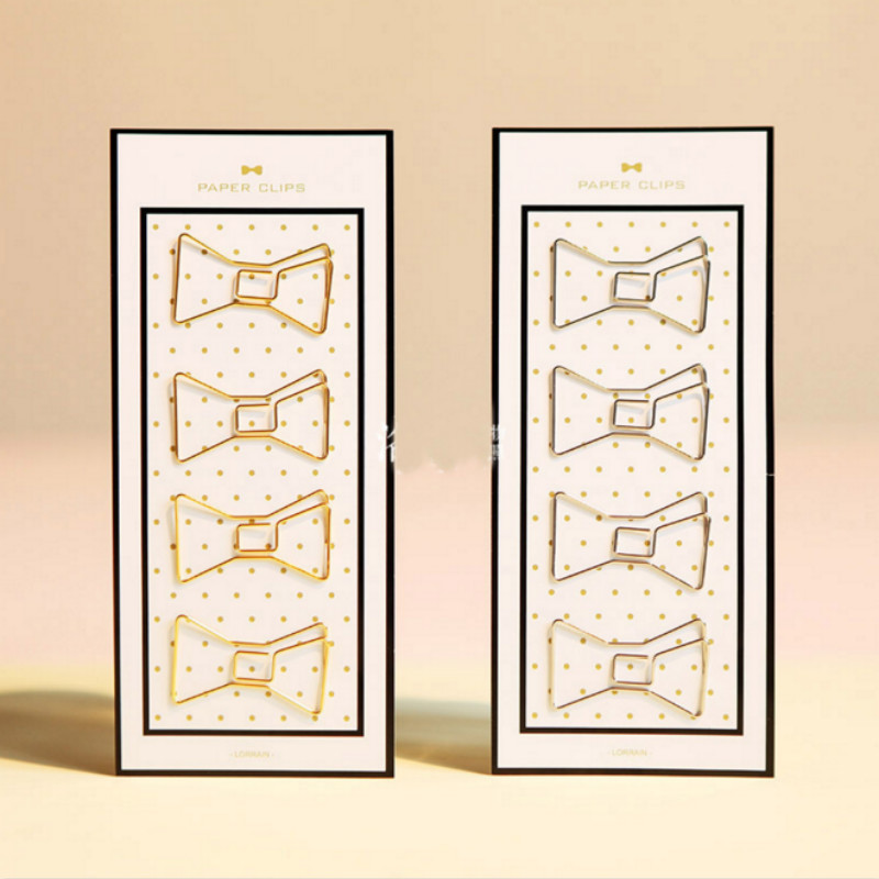 4 Pcs/pack Lovely Mini Hollow Bowknot Shape Metal Bookmarks Book Marker Paper Clips DIY Bookend Clip Page Holders Stationery