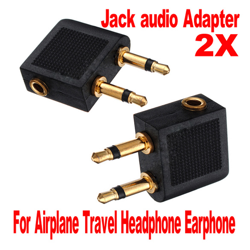 2pcs/lots 3.5mm Jack Audio Adapter Airline Airplane Travel Traveling Earphone Headphone Headset Jack Adapter hot Wholesale-in Earphone Accessories from Consumer Electronics