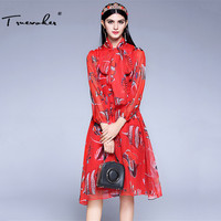 Truevoker Spring Designer Dress Women S Puff Sleeve Red Fish Printed Tied Waist Knee Length Casual