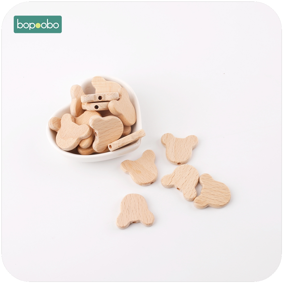Bopoobo 10pcs Natural Wood Bears Heads Beads Jewelry Making For Teeth Beech Wooden Teether DIY Dummy Clip Chains Baby Teethers