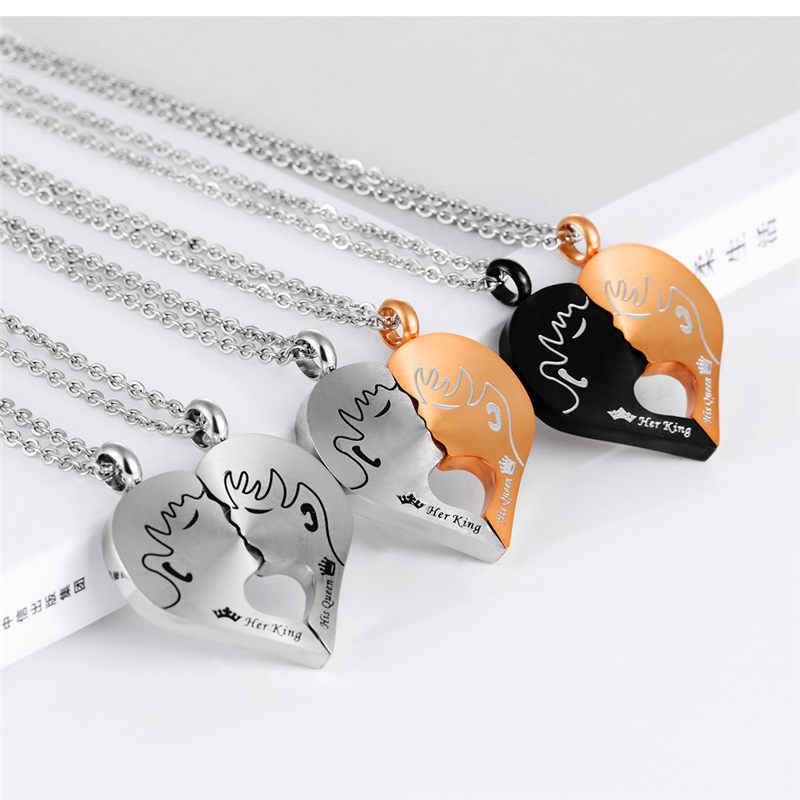 69b6c5e9a8 ... V.Ya Romantic Couple Necklaces Her King His Queen Crown Figure  Personalized Stainless Steel Pendant ...