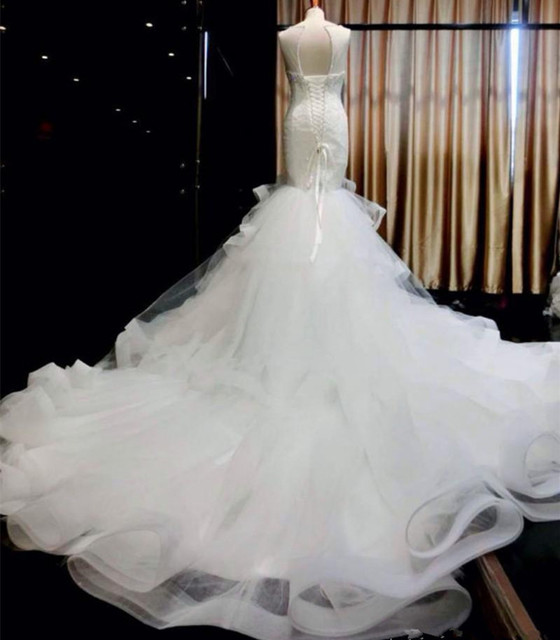 Crystal Mermaid Wedding Dress Cathedral Train Sheer Sweetheart ...