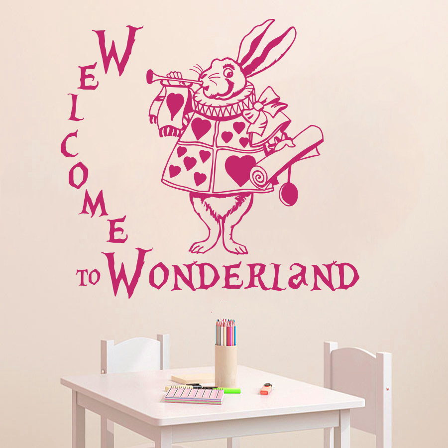 popular rabbit wall buy cheap rabbit wall lots from china rabbit hot quote welcome to wonderland rabbit wall decal alice in wonderland baby nursery kids room vinyl