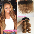 Raiz Escura Honey Blonde brasileiro Cabelo Weave 3 Pacotes Com Rendas Frontal Fechamento 1B/27 ombre laço frontal com feixes