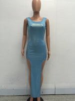 Newest Women Fashion Bandage Dress Sexy Hollow Out Bronzing Split Maxi Dress Women Sleeveless Long Dress