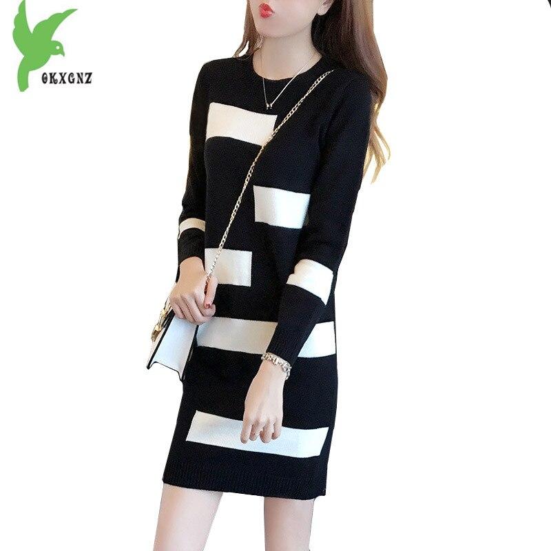Fashion Women Autumn Knit Sweater Dress Plus size Loose Sweater Mini Dress Medium length Female Knit Pullover Dress OKXGNZ A1285