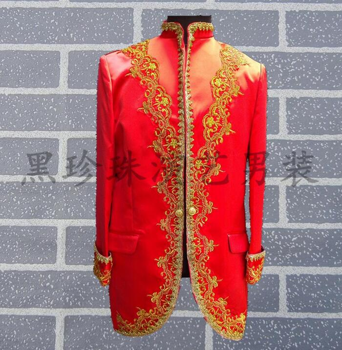 Gold Laciness Royal Men Suits Designs Masculino Homme Terno Stage Costumes For Singers Men Blazer Dance Jacket Star Style Red