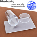 2016 Unique New Design Pure Clear Jelly Silicone Nail Art Stamper Scraper with Cap Transparent 2.8cm Nail Stamp Stamping Tools