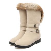 Botas Feminina New Style Sweet Rubber Female Shoes High Quality PU Height Increasing Wedges Warm Women