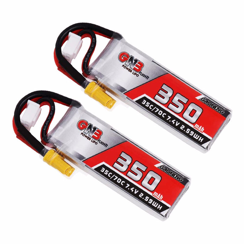 GNB <font><b>350mAh</b></font> <font><b>2S</b></font> Lipo Battery HV Battery 35C/70C 7.4V with XT30 20AWG Silicone Wire for <font><b>2S</b></font> Whoop Drone Like Beta75X Brushless Drone image