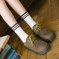 Japanese New Women S Socks Cotton Twist Two Bar Ms Tube Socks College Sports And Leisure