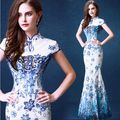 2016 Spring Fashion Embroidery Lace Cheongsam Bride Wedding Qipao Blue And White Porcelain Banquet Conference Fishtail Qi Pao