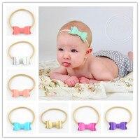 100pcs/lot Elastic Tan Headband with Soft Synthetic Leather Bow Bowknot Headband Hair Accessories Dress FDA223