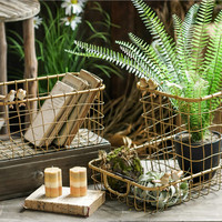 Nostalgic Gothic Laundry Storage dirty clothes Basket Woven laundry Wire Basket Golden Baskets wicker cestos decorativos