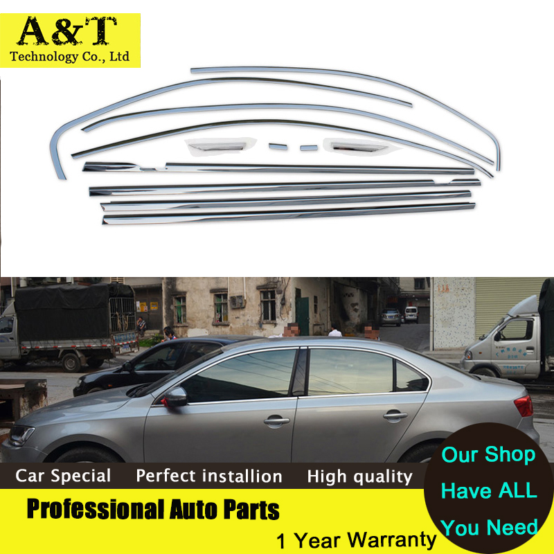 Full Window Trim Strips Stainless Steel Styling For VW Sagitar Jetta 2013 2014 high quality chrome stickers trim car sty Car Acc stainless steel middle center pillars window sill cover trim full window frame 22pcs for kia carens 2013 car styling accessories