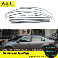 Full Window Trim Strips Stainless Steel Styling For VW Sagitar Jetta 2013 2014 High Quality Chrome