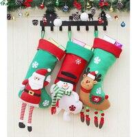 3pcs Christmas Stockings Socks Santa Claus Candy Gift Bag Xmas Tree Table Decor Christmas Decorations Festival