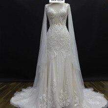 saf sid V-neck Mermaid Wedding Dresses Long Sleeves