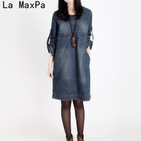 Plus Size Women Clothing 2017 New Spring Jeans Shirt Dress Woman Autumn Vintage Long Sleeve Denim