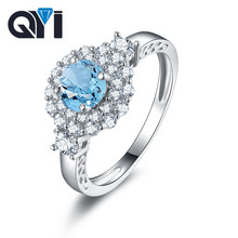 QYI 925 Prata Esterlina Jóias de Pedras Preciosas Azul Sky Natural Topázio Azul Anel de Noivado Em Forma De Rodada Anéis de Moda para As Mulheres