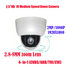 Free shipping New 2MP IR 15M 3x Optical Zoom AHD TVI CVI CVBS 4 In 1 PTZ  Dome  Camera 2 Megapixel  2.8~8mm