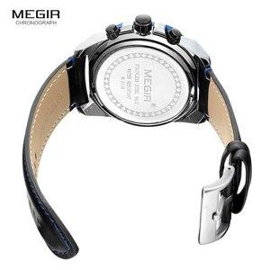 Image 5 - MEGIR גברים של עור רצועת צבא ספורט מקרית שעונים עמיד למים זוהר צבא שעוני יד איש Relogios Masculino שעון 2118 כחול