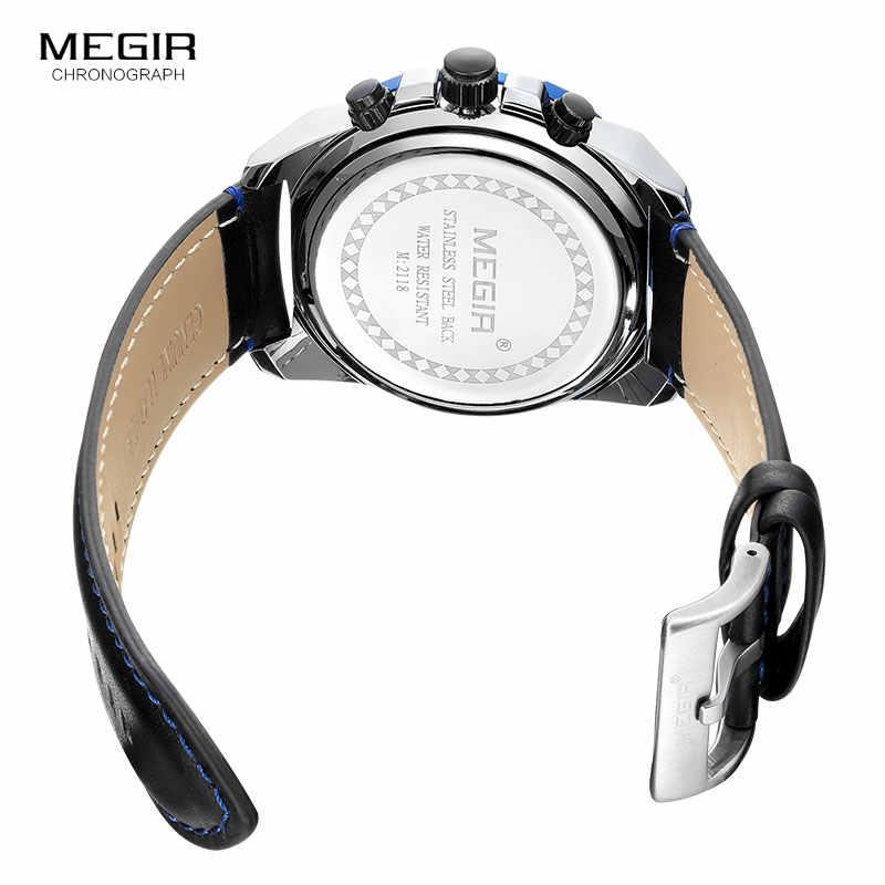 Мужские часы MEGIR с кожаным ремешком, армейские Спортивные Повседневные часы, водонепроницаемые светящиеся армейские наручные часы, мужские часы, мужские часы, 2118 синий цвет