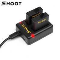SHOOT Dual Port Battery Charger with 2pcs 1220mAh Battery for GoPro Hero 8 7 6 5 Black Cam for GoPro 8 7 6 5 Changing Accessory