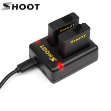 SHOOT Dual Port Battery Charger With 2pcs 1220mAh Battery for GoPro Hero 5 Black Camera For Go Pro Hero 5 Changing Accessory Set