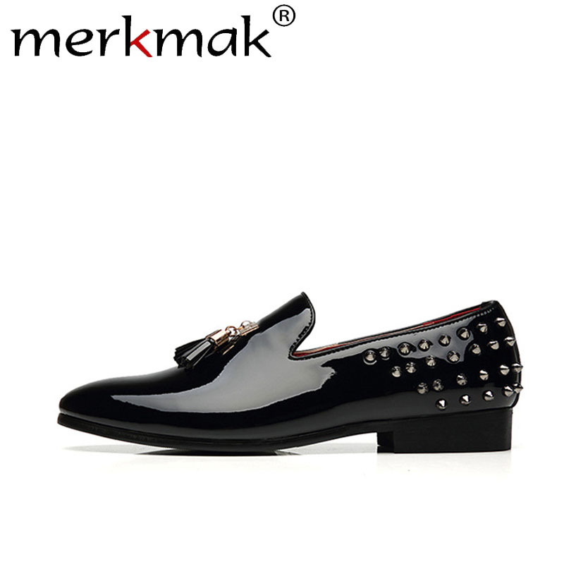 Merkmak Spring Rivet Men Loafers Shoes Fashion Personality Solid Slip On Leather Shoe Man Party Footwear Flats Big Size 37- 48