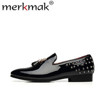 Merkmak Spring Rivet Men Loafers Shoes Fashion Personality Solid Slip On Leather Shoe Man Party Footwear Flats Big Size 37 48