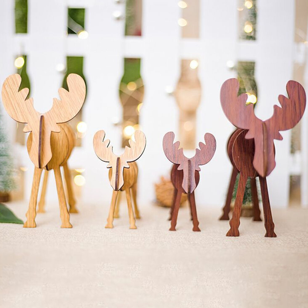 Aliexpress Com Buy 4pcs Diy Wooden Elk Christmas Decoration Drop