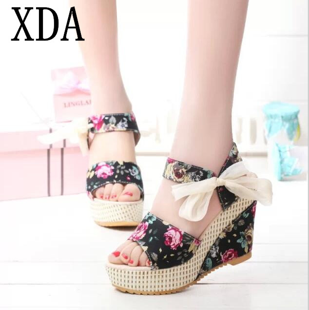 XDA 2019 New Arrival Women Sandals Summer Open Toe Fish Head sandals Fashion Platform High Heels Wedge Sandals Female Shoes E132 1