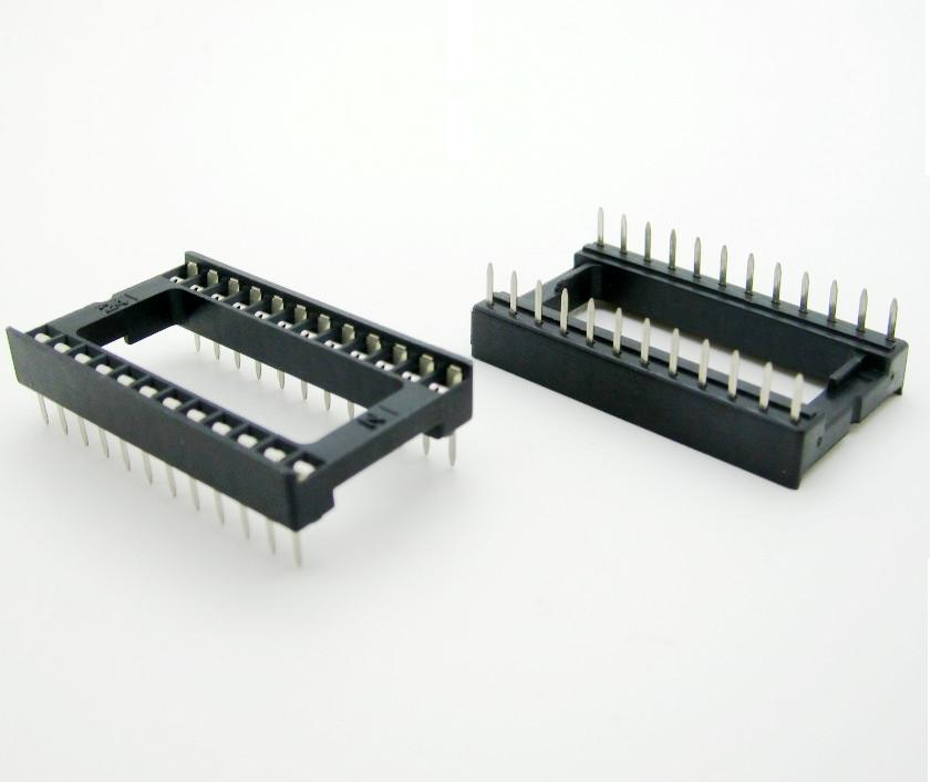 10Pcs 24pin DIP IC Sockets Adaptor Solder Type 24 Pin DIP-24 Wide-Body