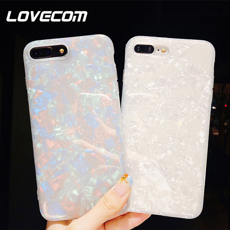 LOVECOM Glitter Dream Shell Phone <font><b>Case</b></font> For <font><b>iPhone</b></font> 11 Pro Max XR <font><b>XS</b></font> Max <font><b>X</b></font> 8 7 6 6S Plus Soft TPU Silicone Back Cover Pure Color image