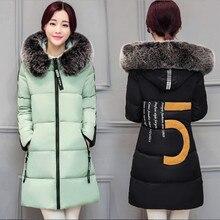 Новая Зимняя Куртка Женщины Тонкий Большой Меховой Воротник С Капюшоном Толщиной теплый Женщины Пальто Плюс Размер Женщин Вниз Пальто Лоскутная Куртка пиджаки
