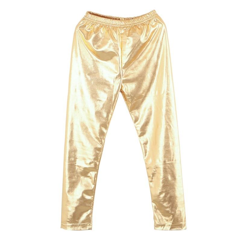 Girls Legging Hot Fashion Baby Girl Metallic Shiny Skinny Pants Leggings Casual Cool Pants Cropped Pants stripe side skinny pants