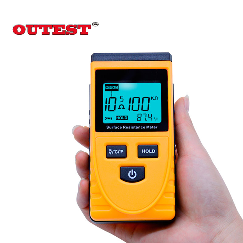 GM3110 digital resistance tester Accuracy +/-10% anti-static LCD backlight display resistance Tester with data hold function